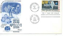 """1er Jour """" 1er Homme Sur La Lune Apollon 11"""" - FDC & Commémoratifs"""