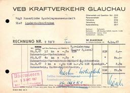 A8580 - Glauchau - VEB Kraftverkehr Nach Limbach Oberfrohna 1967 - Rechnung - Germany