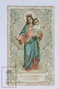 Antique Embossed Paper Lace Holy Card - Maria Auxilium Christianorum Ora Pro Nobis -Pio IX, Virgin Mary And Jesus Christ - Imágenes Religiosas