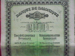 Grece / Greece   Empire  Ottoman Turquie / Turkey:   Banque De Salonique : Action De 100 Francs 1910 - Otros