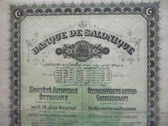 Grece / Greece   Empire  Ottoman Turquie / Turkey:   Banque De Salonique : Action De 100 Francs 1907 - Otros
