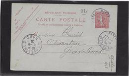 France Entiers Postaux - 10 C Semeuse Lignée - Carte Postale - Oblitéré - TB - Entiers Postaux