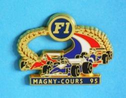 1 PIN'S //   ** FORMULE 1 ** CIRCUIT MAGNY-COURS ** 95 ** Fond Bleu ** . (JFG MIAMI) - F1