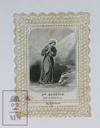 Antique Paper Lace Holy Card - Ste. Eugenie/ Eugenia Of Rome - Printed In Paris Circa 1930's - Images Religieuses