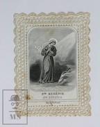 Antique Paper Lace Holy Card - Ste. Eugenie/ Eugenia Of Rome - Printed In Paris Circa 1930's - Imágenes Religiosas