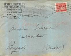 ENVELOPPE  LEGION FRANCAISE DES COMBATTANTS  AURILLAC - Guerre De 1939-45