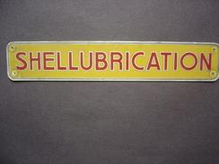 Plaque SHELL LUBRICATION -  5 X 28 Cm - Gas, Garage, Oil