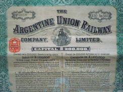 Argentine / Argentina : : Large Bond /Obligation  : Argentine Union Railway  1910  Avec Tous Ses Coupons - Otros