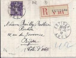 AUBE - 10 - ESTISSAC   TàD De Type A4 De 1912 - Manual Postmarks
