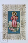 Antique Paper Embossed Lace Holy Card - The Holy Child Jesus Christ - Imágenes Religiosas