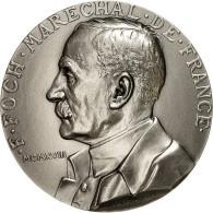 France, Medal, F. Foch, Maréchal De France, Prud'homme.G, SPL+, Silvered Bronze - France
