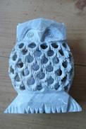 Chouette En Pierre Sculptée - Origine Inde - Sculptures