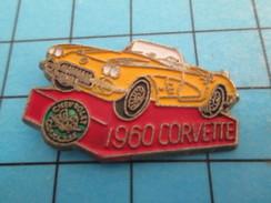 Pin414c Pin's Pins / Beau Et Rare / AUTOMOBILE /  CHEVROLET CORVETTE JAUNE 1960 - Corvette