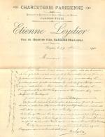 COURRIER ET ENVELOPPE  SAUGUES HAUTE LOIRE  ETIENNE LEYDIER CHARCUTERIE PARISIENNE 1901 - 1900 – 1949