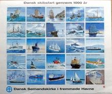 Denmark.Vignette  Danish Shipping For 1000 Years, Danish Naval Church In Foreign Ports, Folding Sheets  ( Mappe ) - Danemark