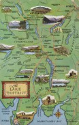 Postcard A Map Of The Lake District By Salmon My Ref  B11718 - Maps