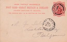 GB :Post Card - ,Great Britain & Ireland /   From OLDHAM To Lichtervelde ( 15 Dec 1899 ) - Interi Postali
