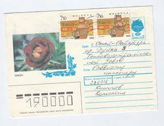 1993 MOLDOVA  2x 7.50 POTTERY Stamps On UPRATED  7k Russia POSTAL STATIONERY COVER Illus ROSE Flower Roses Flowers - Moldawien (Moldau)