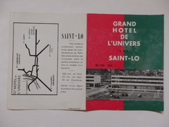 Petit Dépliant Sur Le Grand Hôtel De L'univers à Saint-Lo (50). - Dépliants Turistici