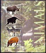 Ghana 2004 MNH SS, Panther, Rhino Zebra, Bush Pig, Black Panther, Animals - Rhinozerosse