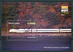 "2004 Sierra Leone ""The Hudson Line"" Treni Trains Railways Block MNH** Sie101 - Sierra Leone (1961-...)"