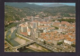 CPSM 30 - ALES - Vue Par Avion Sur La Ville - En 1er Plan : Le Pont-Vieux Sur Le Gardon + FLAMME ALES Verso 1975 - Alès