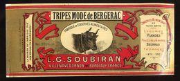 CHROMO ALIMENTAIRE L.G.SOUBIRAN BORDEAUX  TRIPES A LA MODE DE BERGERAC 11X25 Cm - Fruits Et Légumes