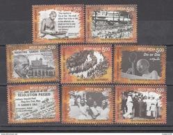 INDIA, 2017, Freedom Movement, 75 Years Of 1942 Freedom Movement, Mahatma Gandhi, Quit India Set 8 V, MNH, (**) - Ongebruikt