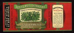 CHROMO ALIMENTAIRE L.G.SOUBIRAN BORDEAUX PETITS POIDS EXTRA FINS 11X25 Cm GLACE - Fruits Et Légumes