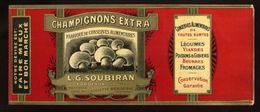 CHROMO ALIMENTAIRE L.G.SOUBIRAN BORDEAUX CHAMPIGNONS EXTRA 11X25 Cm GLACE - Fruits Et Légumes