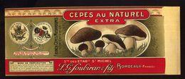 CHROMO ALIMENTAIRE L.G.SOUBIRAN BORDEAUX CÈPES NATUREL EXTRA 11X25 Cm GLACE - Fruits Et Légumes
