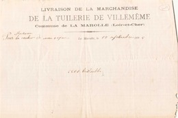 Bon De Livraison De La Tuilerie De Villemême à La Marolle  Le 19 Septembre 1885 - 1800 – 1899
