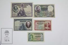Spain/ España 5 Banknotes 5, 10, 25, 50 & 100 Pesetas/ Ptas - 1928 To 1935 - [ 2] 1931-1936 : República
