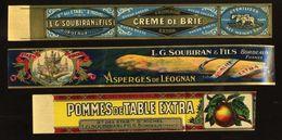 3X CHROMOS E L.G.SOUBIRAN BORDEAUX CRÉMÉ DE BRIE ASPERGES ET POMMES EN BANDE PAPIER GLACE - Fruits Et Légumes