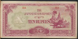 °°° JAPANESE GOVERNMENT 10 RUPEES 1942 °°° - Myanmar