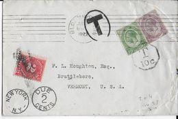 SOUTH AFRICA -1922- ROULETTES NON DENTELES /ENVELOPPE (ILLUSTRATION VACHES AU DOS) TAXEE De BLOEMFONTEIN =>VERMONT (USA) - Briefe U. Dokumente