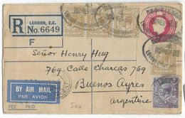 GB - 1930 - SUPERBE+RARE AFFRANCHISSEMENT Sur ENVELOPPE ENTIER RECOMMANDEE AIRMAIL De LONDON => BUENOS AIRES (ARGENTINE) - 1902-1951 (Kings)