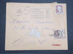 """FRANCE - Env Taxée à Son Arrivée - Troyes Pour Lausanne (Suisse) - Avec Vignette """"Inconnu"""" Dans Les 3 Langues - P22104 - Marcophilie (Lettres)"""