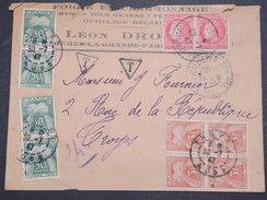 FRANCE - Env Taxée Mazières Pour Troyes - 1947 - Légèrement Déchirée En Tête - P22106 - Marcophilie (Lettres)