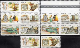 UPU-Kongreß 1979 Brasilien 1696/1 ZD+6-Block ** 12€ Post-Schule Briefkasten Flugzeug Fernschreiber Sheets Bf Brazil - Brésil