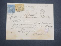 FRANCE - Env Recommandée Paris Pour Troyes - Joliment Affranchie - Août 1882 - P22111 - Marcophilie (Lettres)