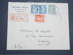 FRANCE - Env Recommandée Paris Pour Orthez - 1928 - P22117 - 1922-26 Pasteur