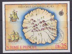 Sao Tome E Principe 1979 Old Map M/s Used Cto (37128) - Sao Tome En Principe