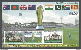 PAKISTAN 2017 SOUVENIR SHEET  ICC CHAMPIONS TROPHY 2017 WINNER TEAM PAKISTAN CRICKET - Pakistan