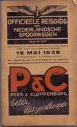 Dienstregeling Horaire Chemins De Fer - Reisgids Nederlandse Spoorwegen 1938 - Europe