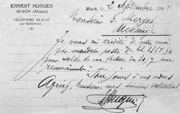 CPA - WISCHES (67) - Environs De SCHIRMECK - Carte-Lettre De La Scierie à Vapeur Ernest Hugues De 1908 - Schiltigheim