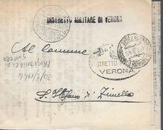 Ww2 1946 Prigionieri Di Guerra - Italia - Distretto Militare Verona - Prigione E Prigionieri