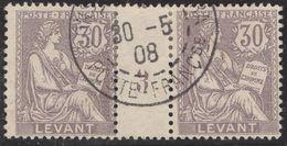 Franz. Kolonien Levante 1908-05-30 Mi#17+ZS+17 Bogennummer 3 Gestempelt Zwischensteg - Oblitérés