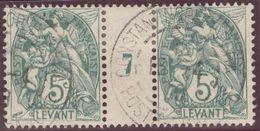 Franz. Kolonien Levante 1908-04-16 Constantinopel Mi#12+ZS+12 Bogennummer 7 Gestempelt Zwischensteg - Oblitérés