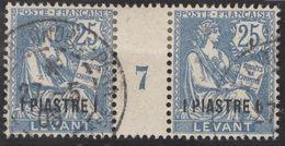 Franz. Kolonien Levante 1908-05-22 Constantinopel Mi#16+ZS+16 Bogennummer 7 Gestempelt Zwischensteg - Oblitérés